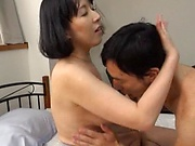 Alluring honey gets her old twat filled with warm jizz