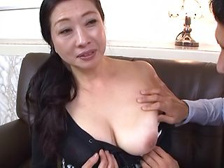 Busty Japanese mature sucks cock and fucks hard