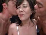 Busty mature stimulated in rough threesome oral