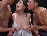 Busty mature stimulated in rough threesome oral picture 11
