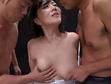 Busty mature stimulated in rough threesome oral picture 13
