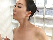 Busty Japan wife enjoys tasty dick in the shower