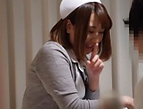 Alluring Asian nurse in sexy lingerie fucks with her patient
