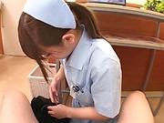 Skilled Japanese nurse Momozono Mirai sucks and rides in pov