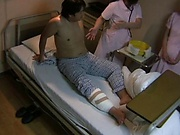 Crazy Japanese nurse seduces a guy in a ward giving a handjob