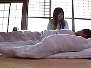 Japanese female doctor in black stockings performs a terrific dick ride