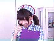 Nice teen nurse is wearing stockings