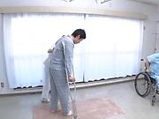 Sweet nurse performs an enthusiastic blowjob