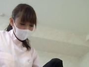 Lusty Tokyo nurse gets her hairy pussy fucked getting cum on body