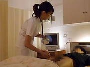 Spicy nurse in kinky wild handjob action indoors