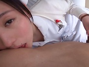 Egami Shiho on her knees deepthroating that cock