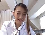 Charming Japanese nurse in black stockings Hamasaki Mao enjoys a ride picture 12