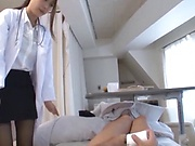 Charming Japanese nurse in black stockings Hamasaki Mao enjoys a ride