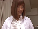 Hot Japanese nurse in nylon stockings Hamasaki Mao gets licked picture 15