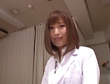 Hot Japanese nurse in nylon stockings Hamasaki Mao gets licked picture 1
