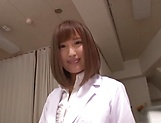 Hot Japanese nurse in nylon stockings Hamasaki Mao gets licked picture 2