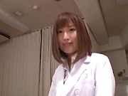 Hot Japanese nurse in nylon stockings Hamasaki Mao gets licked
