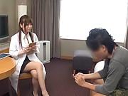 Petite Japanese nurse is mad about flirting and hardcore fucking