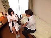 Japanese nurse gets her shaved pussy pleasured by the experienced guy