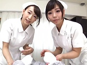 Sexy nurses enjoy getting freaky with their boss at work