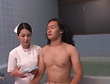 Smoking hot Japanese nurse fucks with a guy in the bath