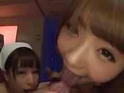 Hot Japanese nurses sharing cock in spicy XXX