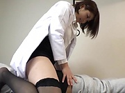 Japanese female doctor gives the best treatment to a guy's dick