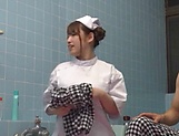Sweet Japanese nurse takes a bath with her patient and fucks hard