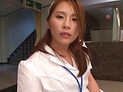 Sultry nurse earns creampie after nice sex