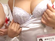 Cock sharing in group with Japanese nurses in heats