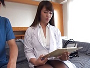 Big tits Japanese milf in a white coat of a nurse enjoys hardcore fuck
