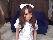 Kinky hot nurse Mashiro Airi in a hardcore threesome fuck