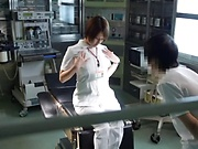Spicy wild nurse get a warm creamy load in her wet muff