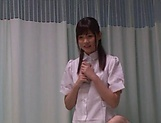 Hot Tokyo nurse has nicely shaved pussy