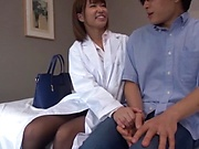 Young naughty nurse from Tokyo gets her hairy twat fucked wildly