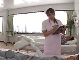 Fantastic Japanese nurse gives a blowjob and swallows cum in pov
