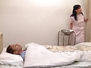 Nurse decides to treat patient with sloppy blowjob