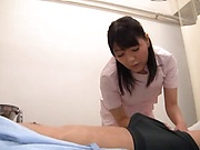 Nurse decides to treat patient with sloppy blowjob