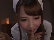 Adorable Japanese nurse in a pink lingerie goes wild in a hot action