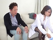 Japanese nurse in glasses plays real hardcore with some dude