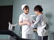 Wild Japanese nurse takes a ride on a cock gets boobs fucked