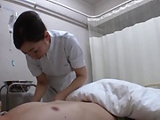 Japanese nurse blows cock till cumshot