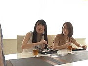 Two horny Japanese girls enjoy dick riding in ffm threesome