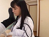 Japanese female doctor in black stockings rides a cock like a pro picture 11