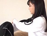 Japanese female doctor in black stockings rides a cock like a pro picture 13