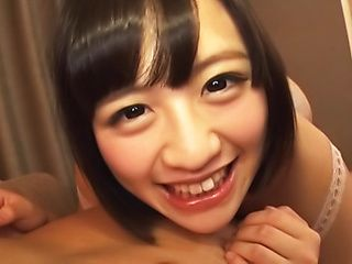 Cute Hazuki Moe enjoys teasing her clit with a vibrator