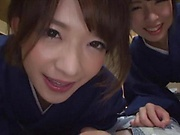 Japanese women sharing cock in superb POV