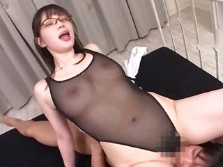 Hot-assed Asian babe in glasses Saitou Miyu gets a big cumshot