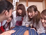 A group of crazy Japanese babes fuck a submissive guy really hard