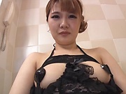 Asian in hot lingerie sucks cock in the shower and swallows